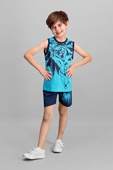 Batman Lisanslı Erkek Çocuk Şort Takım Mavi